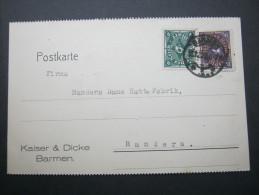 1922, Karte Mit Frankatur Aus Barmen Nach Dänemark - Germany