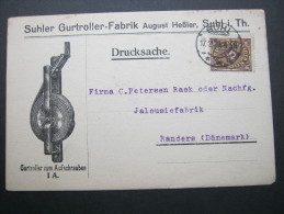 1923, Karte Mit Frankatur Aus Suhl Nach Dänemark - Germany