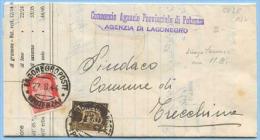 1944 LUOGOTENENZA IMPERIALE C. 5+20 SPLENDIDO DOCUMENTO AGRARIO POTENZA 1.9.44 MARCHE DA BOLLO X TRECCHINA (5818) - 5. 1944-46 Luogotenenza & Umberto II