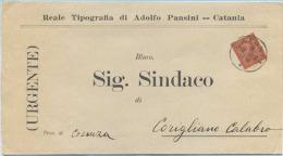 1889 VITT. EM. II C. 2 PIEGO COMPLETO PUBBLICITARIO TIPOGRAFIA PANSINI CATANIA 8.12.89 A CORIGLIANO (CS) OTTIMA QUALITÀ - 1861-78 Vittorio Emanuele II