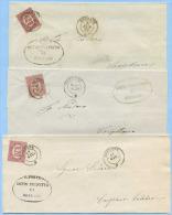 1875 SERVIZIO 0,20 TINTE DIFFERENTI ISOLATO SU 3 PIEGHI DA ROSSANO (COSENZA) A CORIGLIANO OTTIMA QUALITÀ (5831) - Storia Postale