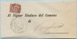 1875 SERVIZIO 0,20 ISOLATO PIEGO COMPLETO 15.9.75 A CORIGLIANO TRANSITO TARANTO ARALDICA LOTTO DI BARI OTTIMA QUALITÀ - 1861-78 Vittorio Emanuele II