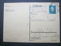 1931, QUITZOW - Perleberg Land, Landpoststempel Auf Karte - Germany