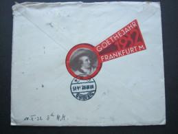 1932, GOETHEJAHR  Frankfurt, Vignette Auf Brief - Germany