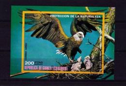 Z] Feuillet Oblitéré Non Dentelé Imperf Cancelled Sheet Aigle Eagle Guinée Equatoriale Equatorial Guinea - Guinée Equatoriale