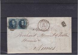 Belgique - Lettre De 1855- Oblitération Anvers - Paire - Bord De Feuille  ??? - Expédié Vers La France - Nimes - 1851-1857 Medallions (6/8)