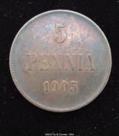 M00473 Finlande, Russian Occupation, 5 PENNIA, 1905, Nicholas II Monogramme 6.4 G - Finlandia