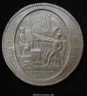 M00487 Medaille De Confiance De 5 Sols Contre Assignat, Monneron 1792 Et Serment Sur Constit., Vivre Libre - Monétaires / De Nécessité