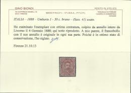 ITALIA REGNO 1879 RE UMBERTO I 30 CENT. ANNULLO LIVORNO ARDENZA OTTIMA CENTRATURA CERTIFICATO ITALY KINGDOM USED - Usati