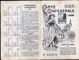 CARTE CONFEDERALE C.G.T. - FEDERATION NATIONALE DES TRAVAILLEURS DU BATIMENT - 1939 - Cartes