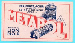 BUVARD BUVARDS Algerie Algeria France Publicité Pub Metapol Fer Fonte Acier Lion Noir Cast Iron Steel - Buvards, Protège-cahiers Illustrés