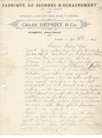SCIONZIER - 1917 -Cesar  DÉPERY  Et Cie - Fabrique De Pignons D´Echappement - - Old Professions