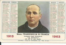 CAL147 - CALENDARIETTO 1963 - MONS. FRANCESCO M. DI FRANCIA - Calendari