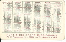 CAL148 - CALENDARIETTO 1967 - PONTIFICIE OPERE MISSIONARIE - Calendari