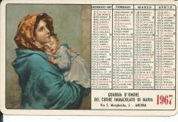 CAL149 - CALENDARIETTO 1967 - GUARDIA D´ONORE DEL CUORE IMMACOLATO DI MARIA - MADONNA DEL RIPOSO - Calendari