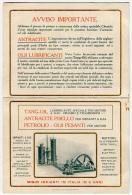 CALENDARIO FORMATO PICCOLO PUBBLICITà ANTRACITE E OLII LUBRIFICANTI TANGYES MILANO NAPOLI BIRMINGHAM ANNO 1913 - Formato Piccolo : 1901-20