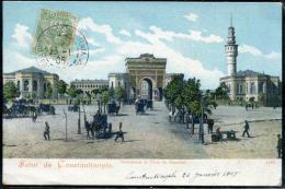 """LEVANT - N° 13 / CPA """" SERASKERAT ET TOUR DE STAMBUL """" OBL. CONSTANTINOPLE-GALATA LE 26/1/1905 POUR ST. SORLIN - TB - Levant (1885-1946)"""