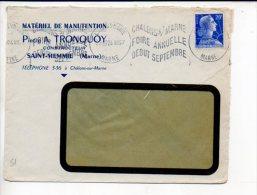 """1957 Chalons Sur Marne Gare / Flamme Krag à Texte Sans Fin """"Foire Annuelle"""" Sur Muller,P.A. Tronquoy Saint Memmie - Storia Postale"""