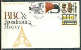 "Great Britain 1972 FDC With Complete Set ""BBC Broadcastin History"". Paddington Cancel Sent To Antwerp (Belgium). - 1971-1980 Em. Décimales"
