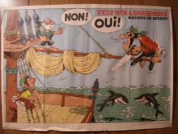 BD - POSTER SPIROU 1973 - VIEUX NICK & BARBE-NOIRE - 60x43cm - Spirou Magazine