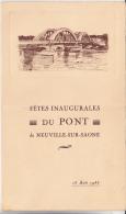 MENU - FETES INAUGURALES DU PONT DE NEUVILLE SUR SAONE-RHONE-1935 - Menu