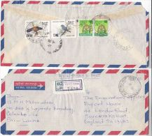 REGISTERED  TOWN HALL INDIKA Air Mail SRI LANKA COVER, Stamps On BACK BIRD  Birds - Sri Lanka (Ceylon) (1948-...)