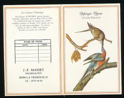 Calendrier Petit Format 1990 : Pharmacie J.F Masset, La Trimouille (86290), Oiseaux D'Amérique - Tamaño Pequeño : 1981-90