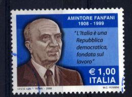 Italia Italie Italy  2008 Usato -  Centenario Della Nascita Di Amintore Fanfani - 2001-10: Usati