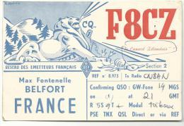 Carte  Radio  Amateur  Qsl :   , F 8 C Z ,  BELFORT  - LION - Radio Amateur