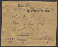 PAKISTAN Official Postal Used Cover From CHIEF POSTMASTER KARACHI GPO, Registered 5.10.2013 - Pakistan