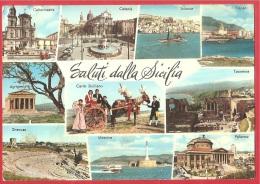 CARTOLINA NV ITALIA - SALUTI DALLA SICILIA - Vedute - Panorama - Sciacca - Carretto Siciliano - 10 X 15 - PERFETTA - Saluti Da.../ Gruss Aus...