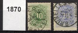 BELGIUM 1870 Perf.15 - Yv.TT 1-2 (Mi.Porto 1-2, Sc.J 1-2) Used Perfect (VF) - Francobolli
