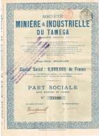 Action Ancienne  - Société MINIERE & INDUSTRIELLE DU TAMEGA Part Sociale - Mines