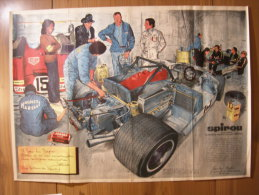 BD - POSTER SPIROU 1971 - FERRARI A L'ATELIER - 60x43cm - Spirou Magazine