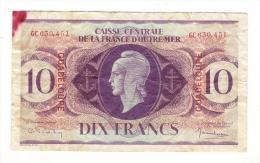Billet De La CAISSE CENTRALE DE LA FRANCE D' OUTRE-MER ( GUADELOUPE ) /  DIX  FRANCS ( N° GC 630.451 ) / Date : 2-2-1944 - France