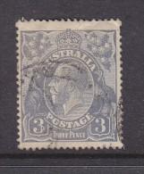 AUSTRALIA, GEORGE V HEADS, 1924, 3d, Dull Ultramarine, Used - 1913-36 George V: Heads