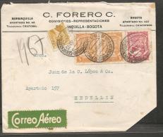 O) 1924 COLOMBIA, BISECTO CALDAS, SCADTA 3 CENTAVOS, SCADTA 15 CENTAVOS, FROM BARRANQUILLA TO MEDELLIN - Colombie