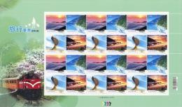 Sheet Of NT$12 2013 Greeting Stamps -Travel Lake Mount Geology Sunrise Sea Cloud Rock Train Alpine Railway - Geology