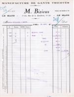 1939 MANUFACTURE DE GANTS TRICOTES M. BIZIEUX 11 BIS RUE DE LA BARILLERIE LE MANS - France
