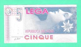Lega Nord - 5 Lega 1992  U. Bossi - Banconota Ad Uso Politico Esposta Al British Museum Di Londra - [ 2] 1946-… : Républic