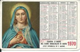 CAL154 - CALENDARIETTO 1970 - GUARDIA D´ONORE DEL CUORE IMMACOLATO DI MARIA - Calendari