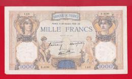 """BILLET DE 1000 FRANCS  """" CERES ET MERCURE """"  DU 20-10-1938  D.4196 - 1 000 F 1927-1940 ''Cérès Et Mercure''"""