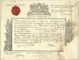 1774 - Congé Militaire - INFANTERIE - Régiment De BOURGOGNE - Engagé En 1760 (Guerre De Sept Ans) - Documents Historiques