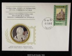 AG00515 CHINE Tchang Kaï-Shek (04/1980) Int. Soc. Of Postmasters-receveurs Poste, Timbre Et Médaille Argent. Env. 25 G - Jetons & Médailles