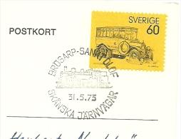Sweden Card With Daymark Train 31-5-1973 Stamp Old Coach - Treinen