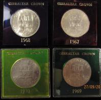 M00565 Gibraltar Crown, 1967-68-69-70, New Zeland, Cook 1769-1969, Silver Wedding 1972, Queen Elisabeth II,  304 G - Other