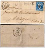 SALBRIS  (41)  Lettre  Avec GC 3266  (Indice 4) Sur  Yvert 22 - B/2 Dans Un Cercle (61851) - Storia Postale