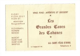 Saint Féliu D'Avail Carte Publicitaire Caves Des Cabanes - Cartes De Visite