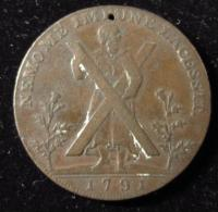 M00570 Lothian, Edinburgh, Hutchinson, Copper Halfpenny, 1791, Obv St Andrew With His Cross, Rev. Arms Of City. 12 G - Royaume-Uni