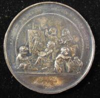 AG00589 1er Prix Académie De Dessin à Jules Messiaen, Angelots, Au Revers Léopold II En Buste, Wiener, Ag 50 G. - Belgio